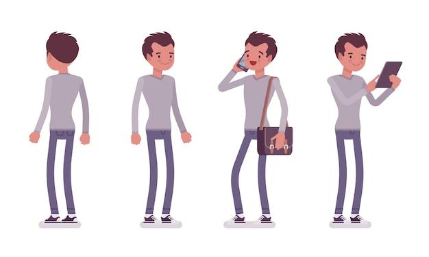 Set di giovane uomo bello in posa in piedi Vettore Premium