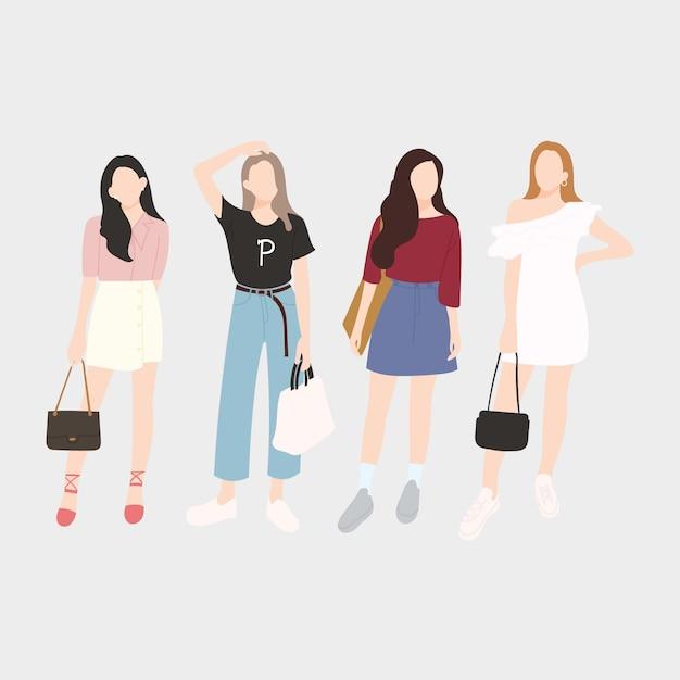 Set di giovani donne alla moda, ragazze alla moda. design piatto. illustrazione vettoriale. Vettore Premium