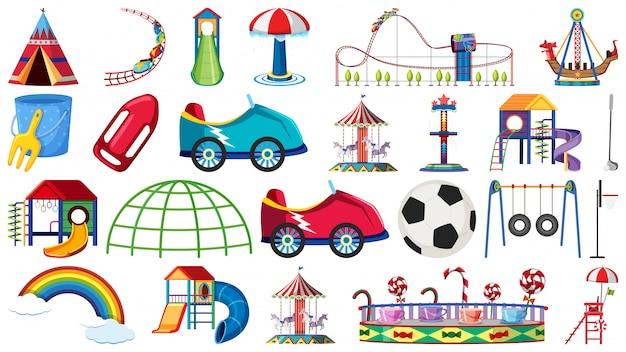 Set di giro del parco dei divertimenti Vettore Premium