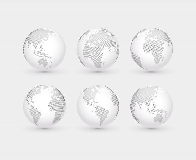 Set di globi tratteggiati astratti di vettore. sei globi, tra cui una vista delle americhe, asia, australia, africa, europa e l'atlantico Vettore Premium