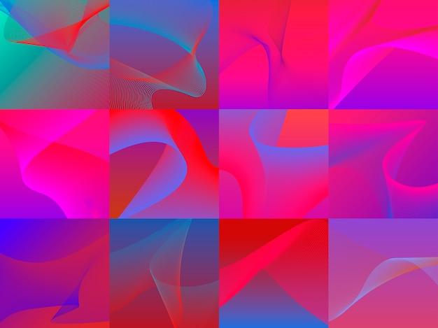 Set di grafica colorata vibrante onda 3d Vettore gratuito