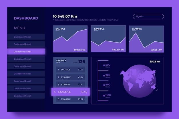 Set di grafici del pannello utente del dashboard viola Vettore gratuito