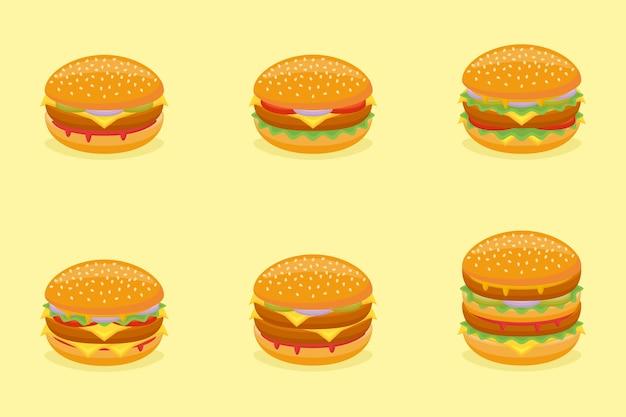 Set di hamburger diversi. menu di fast food. Vettore Premium