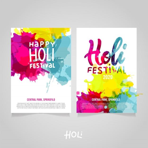 Set di holi festival a4 s con spruzzi di vernice arcobaleno colorato astratto. modello di poster, brochure, banner o flyer con scritte happy holi festival con testo di esempio Vettore Premium