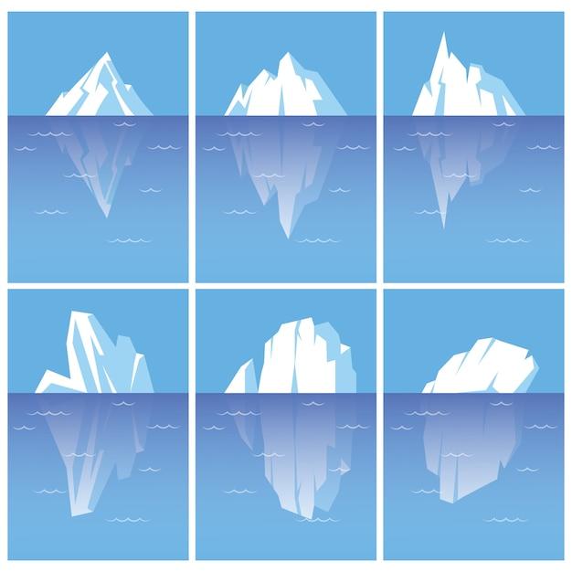 Set di iceberg con parte sottomarina. illustrazioni in stile piatto isolati su sfondo bianco. Vettore Premium