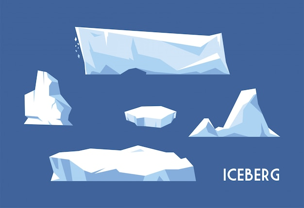 Set di iceberg su sfondo blu Vettore Premium