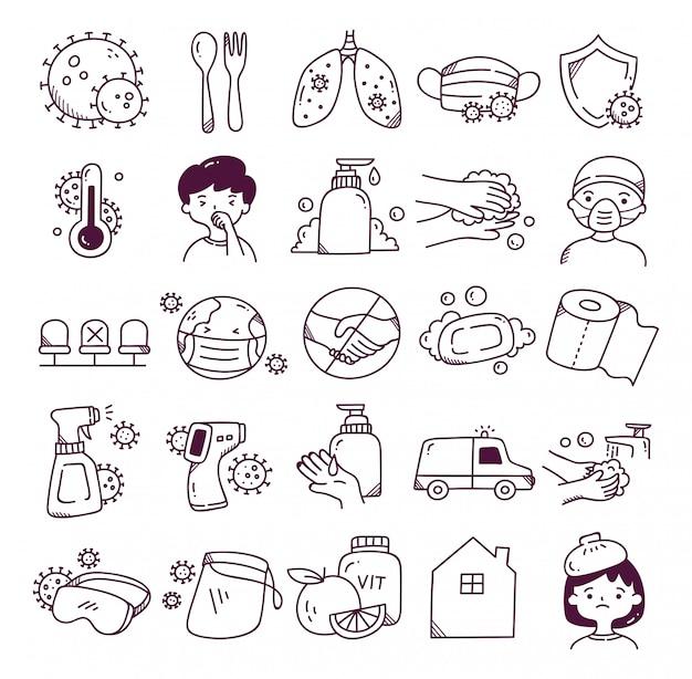 Set di icona di doodle di corona virus Vettore Premium