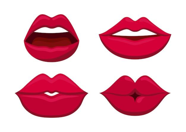 Set di icona di labbra femminili sensualità Vettore gratuito