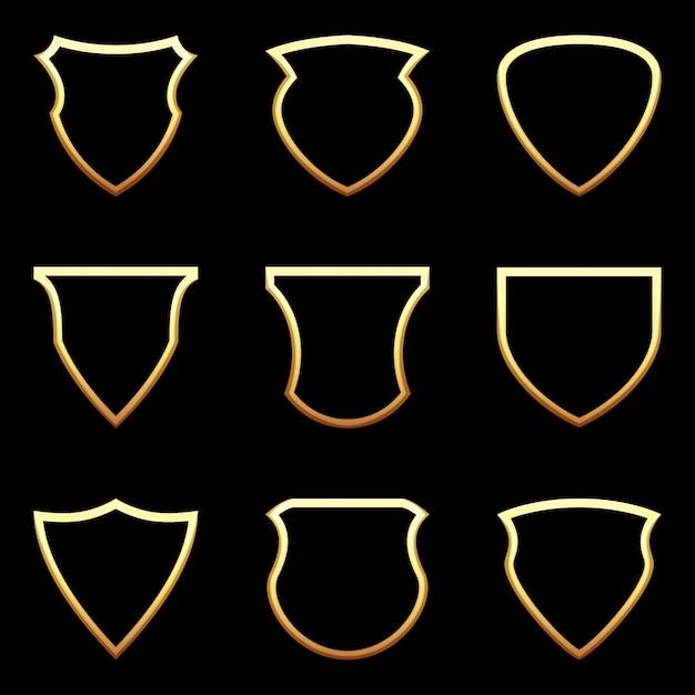 Set di icona scudo sul nero Vettore Premium