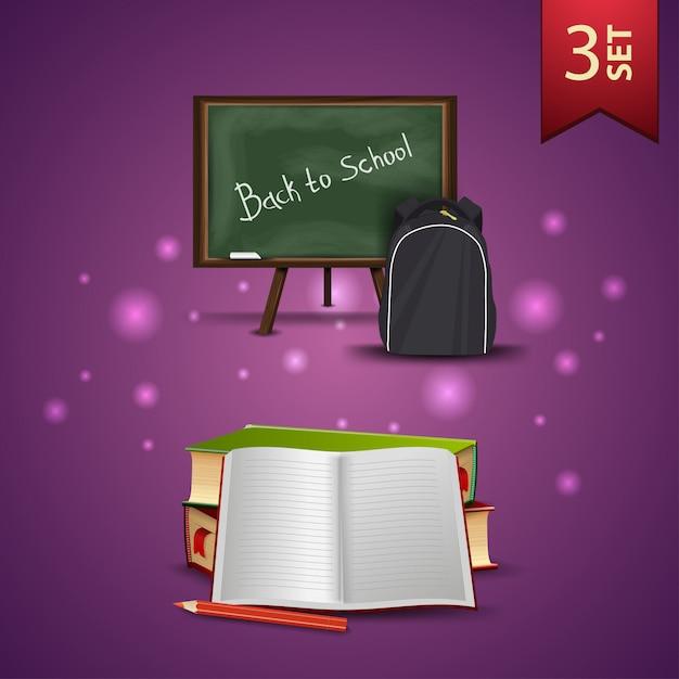 Set di icone 3d torna a scuola, consiglio scolastico, zaino scuola, libri scolastici e notebook Vettore Premium