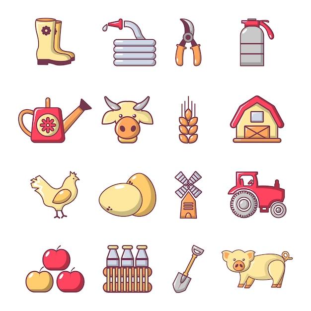 Set di icone agricole di fattoria Vettore Premium