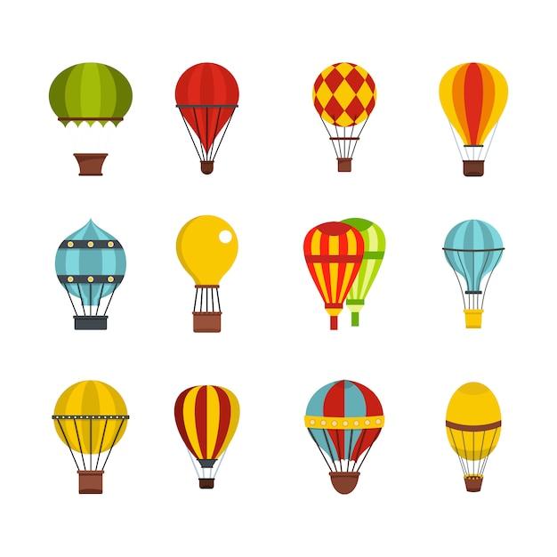 Set di icone airballon. insieme piano della raccolta delle icone di vettore dell'aerone isolato Vettore Premium