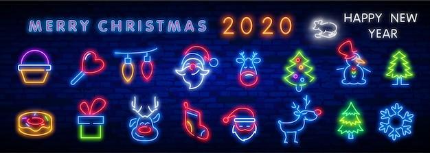 Set di icone al neon di natale. Vettore Premium