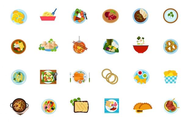 Set di icone alimentari tradizionali Vettore gratuito