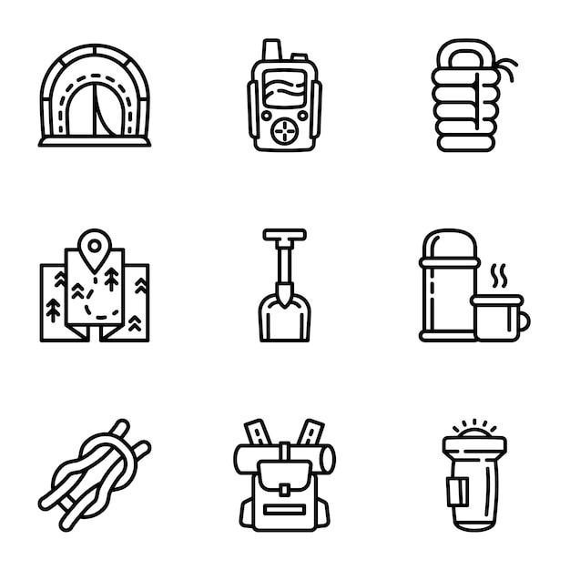 Set di icone attrezzatura da campeggio, struttura di stile Vettore Premium