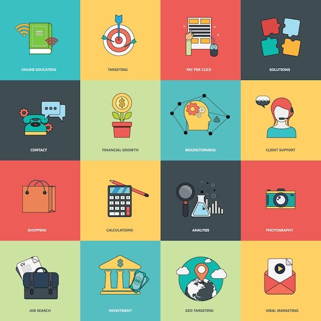 Set di icone aziendali Vettore Premium