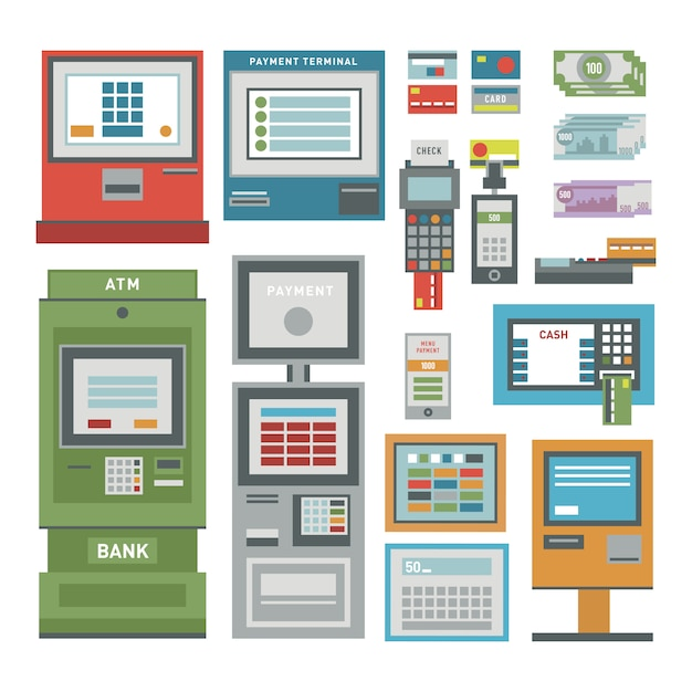 Set di icone bancomat Vettore Premium