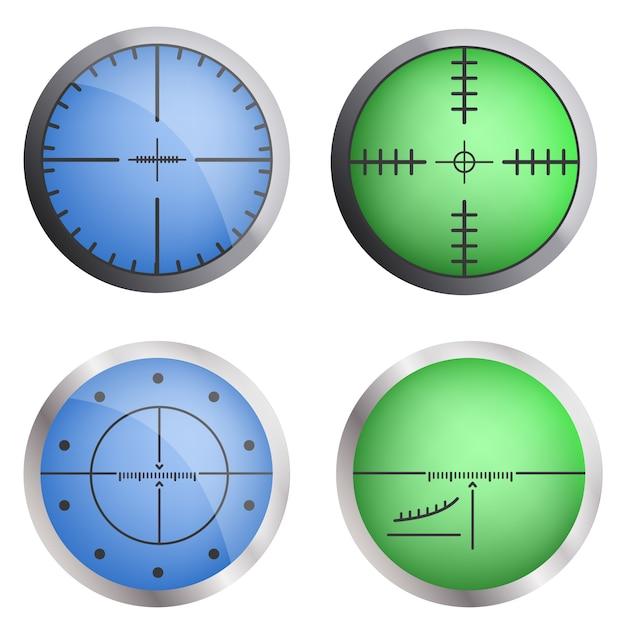 Set di icone bersaglio mirino. insieme realistico delle icone di vettore dell'obiettivo del mirino per web design Vettore Premium