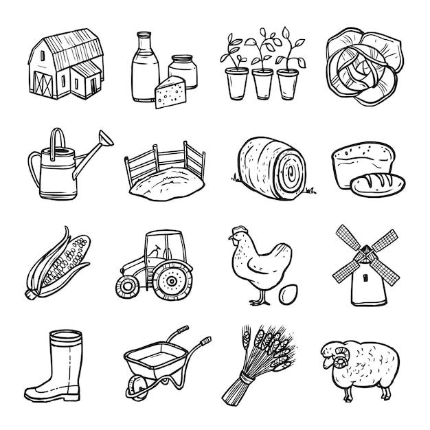 Set di icone bianco nero di agricoltura Vettore gratuito