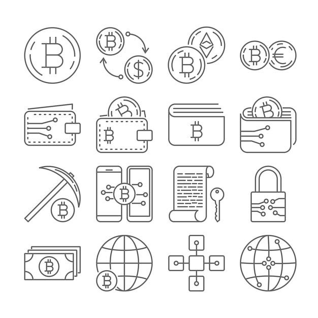 Set di icone bitcoin criptovaluta Vettore Premium