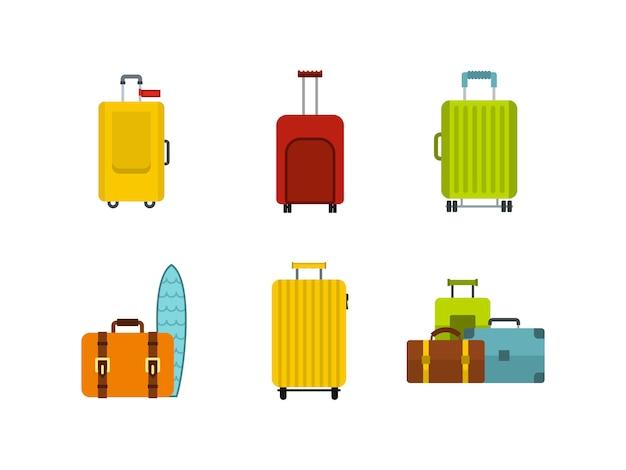 Set di icone borsa da viaggio. insieme piano della raccolta delle icone di vettore della borsa di viaggio isolata Vettore Premium