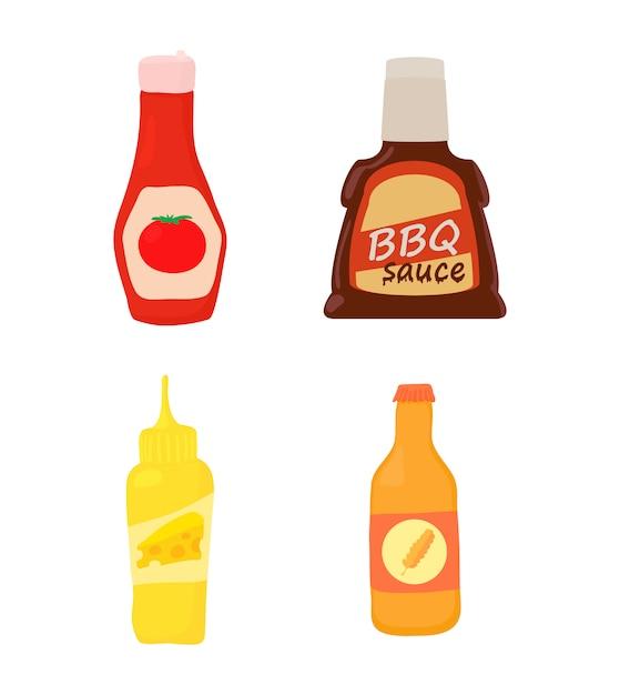 Set di icone bottiglia di salsa Vettore Premium