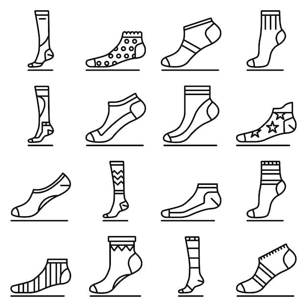 Set di icone calzino. delineare un insieme di icone vettoriali calzino Vettore Premium