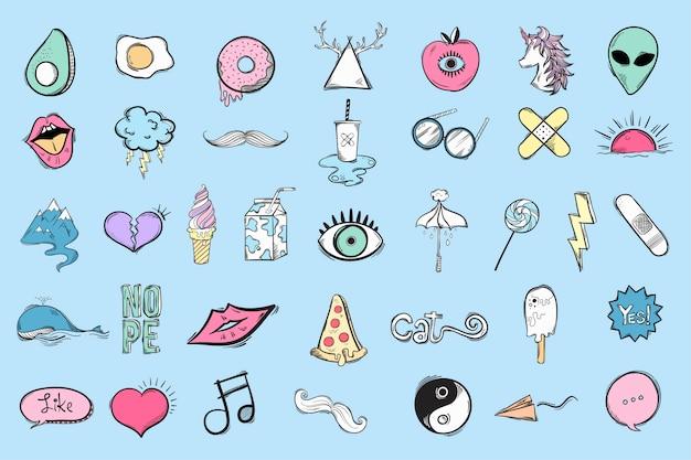 Set di icone carine e cool Vettore gratuito