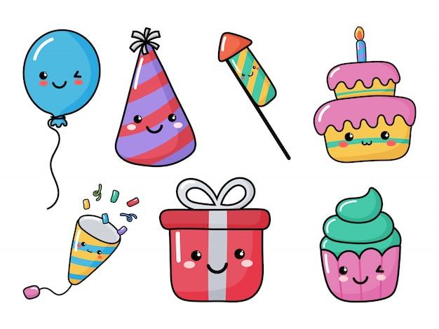 Set di icone carino compleanno divertenti. festa elementi festosi di carnevale stile kawaii. isolato Vettore Premium