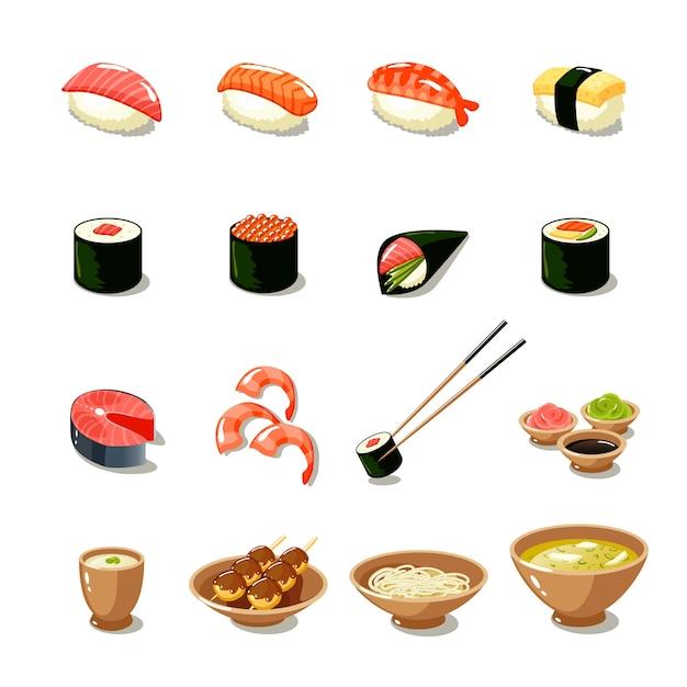 Set di icone cibo asia Vettore gratuito