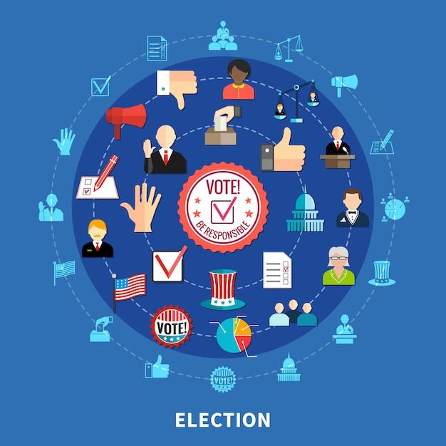 Set di icone circolari di voto online Vettore gratuito