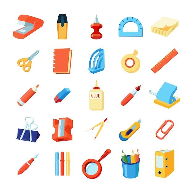 Set di icone colorate di cancelleria Vettore gratuito