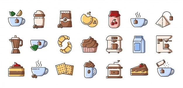 Set di icone colorate di contorno - caffè e tè, attrezzature per la preparazione del caffè, tazza o tazza con bevande calde Vettore Premium