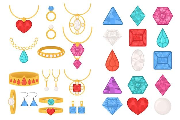 Set di icone colorate di gioielli. gioielli preziosi di lusso di anelli, collane, catene con pendenti, orecchini, bracciali, intarsiati con diamanti, rubini, perle e zaffiri. illustrazione, eps 10 Vettore Premium