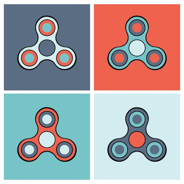 Set di icone colorate per spinner Vettore gratuito