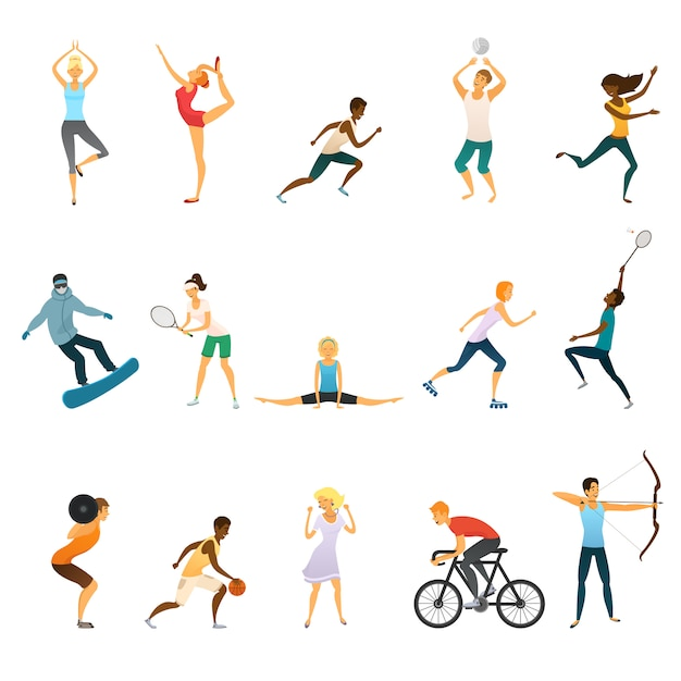 Set di icone colorate piatte persone dello sport Vettore gratuito