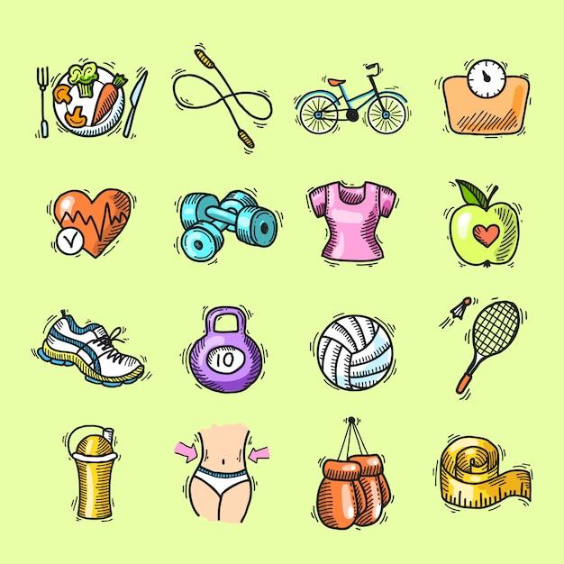 Set di icone colorate schizzo di fitness Vettore gratuito