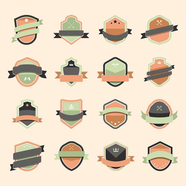 Set di icone colorate scudo impreziosito con i vettori banner Vettore gratuito