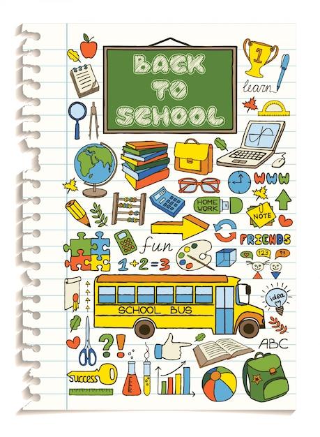 Set di icone colorate scuola di doodle. Vettore Premium