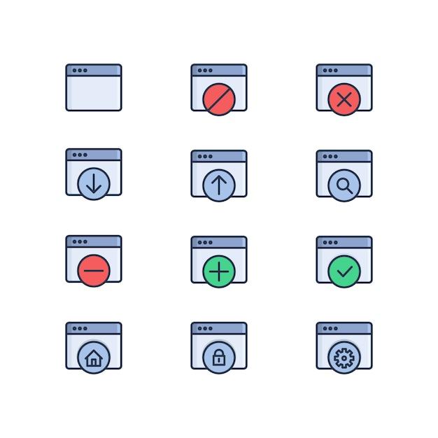 Set di icone colorate vettoriali correlati web. finestra web, caricamento, download, impostazioni web, sicurezza web Vettore Premium