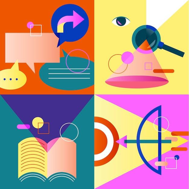 Set di icone colorate Vettore gratuito