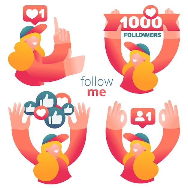 Set di icone con blogger femmina utilizzando i social media per promuovere servizi e beni per i follower online. Vettore Premium