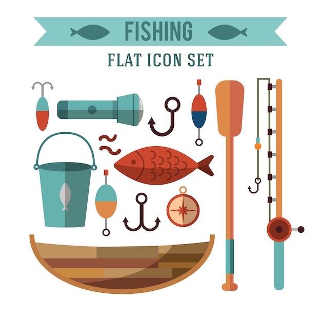 Set di icone concettuale di pesca. design piatto. ricreazione vicino all'acqua. Vettore gratuito