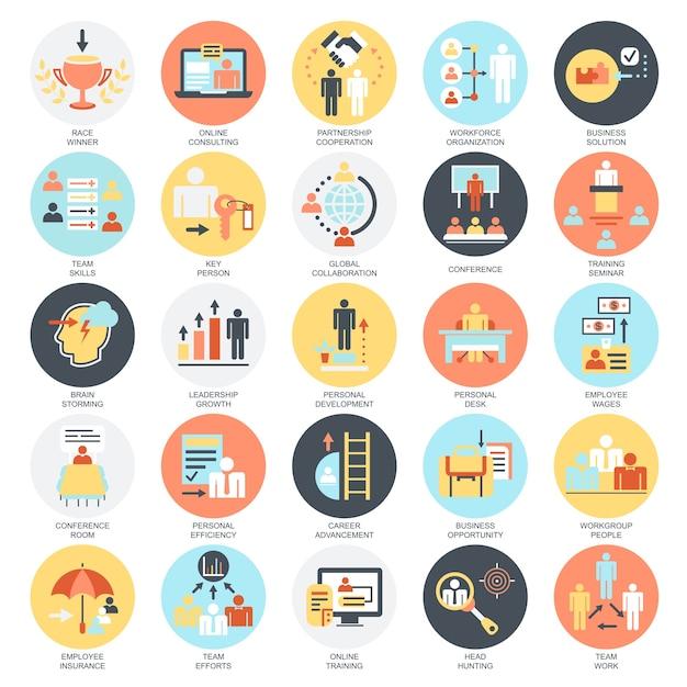 Set di icone concettuali piatto di sviluppo aziendale, formazione di leadership aziendale. Vettore Premium