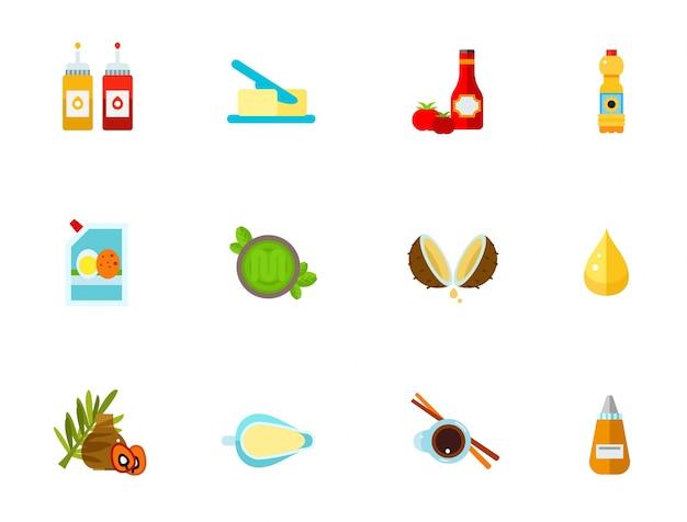 Set di icone condimenti Vettore gratuito