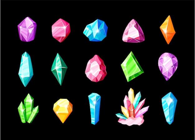 Set di icone - cristalli colorati blu, dorati, rosa, viola, arcobaleno o gemme, collezione di simboli Vettore Premium