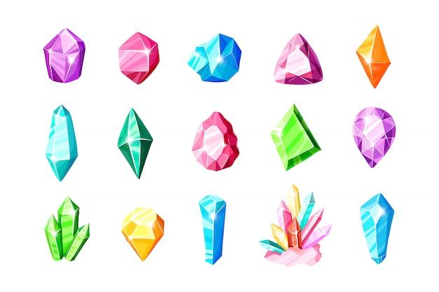 Set di icone - cristalli colorati blu, dorati, rosa, viola, arcobaleno o gemme Vettore Premium