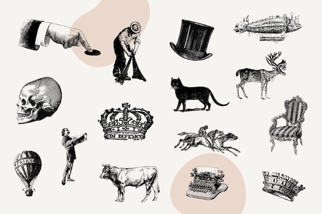 Set di icone d'epoca Vettore gratuito