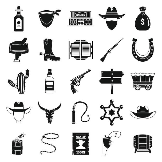 Set di icone da cowboy occidentale, stile semplice Vettore Premium