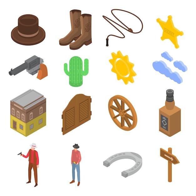 Set di icone da cowboy, stile isometrico Vettore Premium